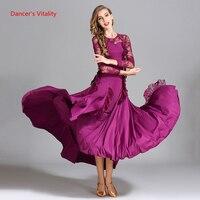 Ballroom Dance Dress Adult Female Lace Long Sleeves Ruffles Big Swing Dresses For Women Waltz Tango Dance Practice Costumes