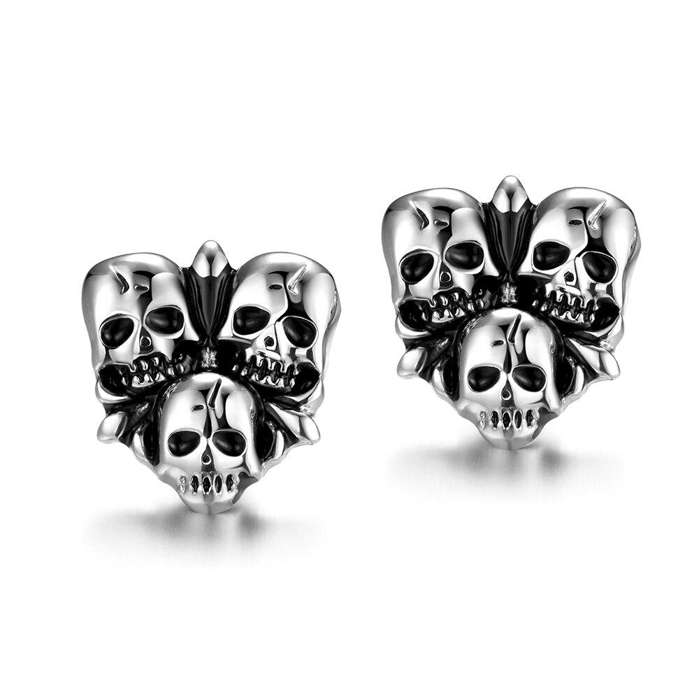 Men Stud Earrings Trendy Domineer Punk Skull Stainless Steel Silver Color  Earring Set For Cool Boy Party Gift Jewelry Pendientes