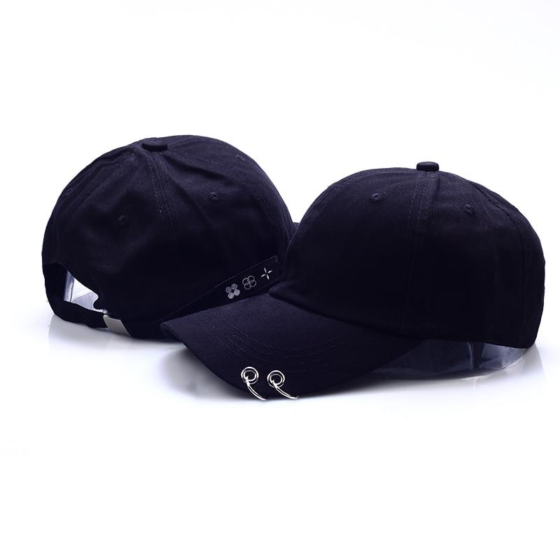 VORON Hot selling 2017 New BTS JIMIN Fashion K POP Iron Ring Hats Adjustable Baseball Cap 100% Handmade Ring bts v fashion k pop punk iron hole hats adjustable baseball cap