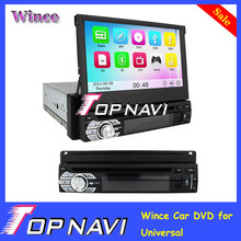 "2014 Top  Hot  Wince Telescopic 7"" 1 Din Car DVD GPS Player for Universal Support Wifi 3G with Bluetooth GPS"
