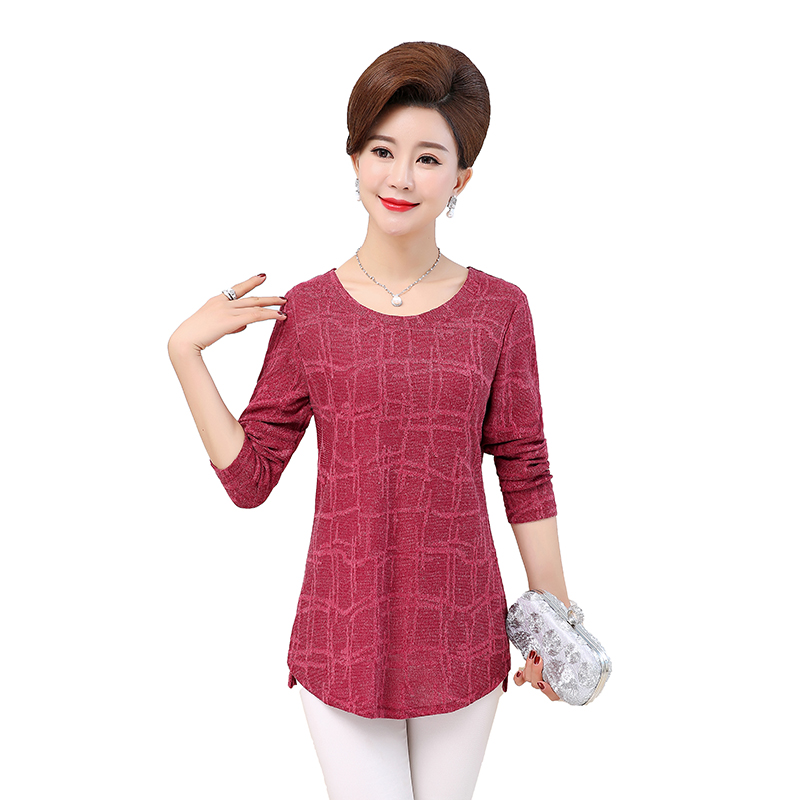 WAEOLSA Autumn Woman Basic Tops Red Khaki Green Knitted Blouses Middle Aged Womens Round Collar Tunic Mother Casual 2019