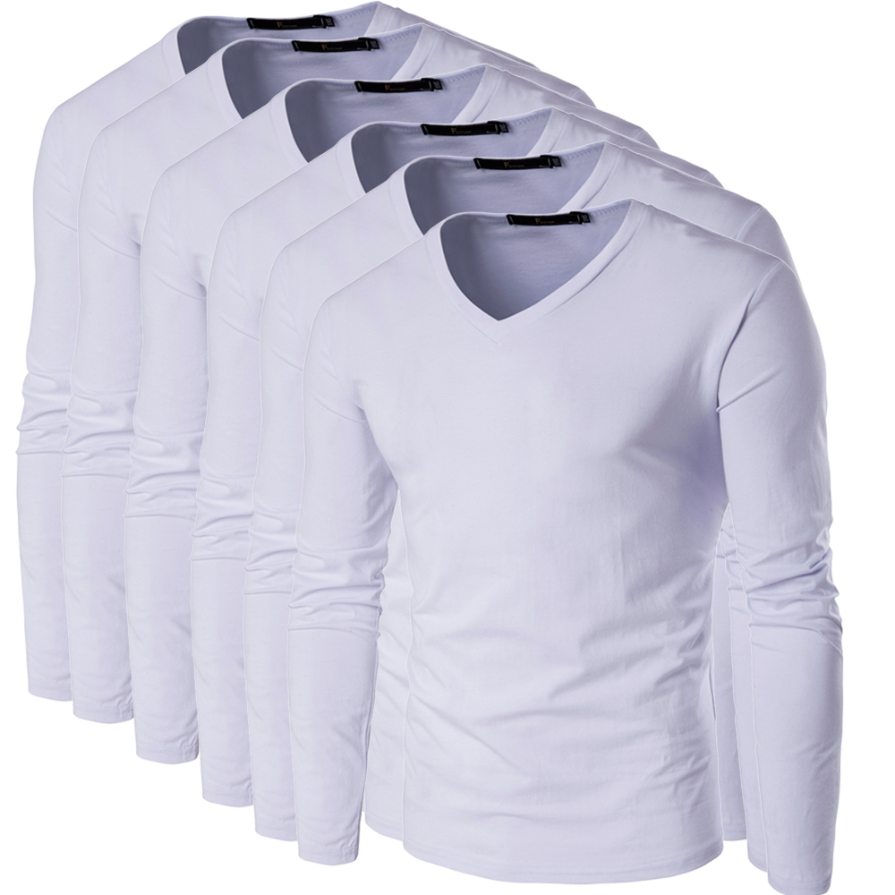 Zeeshant 6 Sztuk/partia Mężczyzna T koszula Z Długim Rękawem V neck Koszulka Męska opakowanie 95% Cotton Tees Tops Mens tshirt Marki w Menn T-shirty