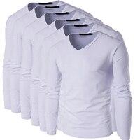 Zeeshant 6 unids/lote hombres manga larga Camiseta cuello v camiseta para hombre 95% algodón Camisetas Tees Tops para hombre de la marca camiseta en De Menn Camisetas
