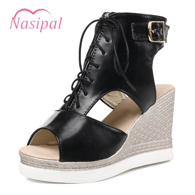 18c72eb2e5 Nasipal Comfortable Wedges High Heels Fashion Buckle Sexy Peep Toe Lacing  Zipper Sandals Summer Casual Campus Student Shoes C453