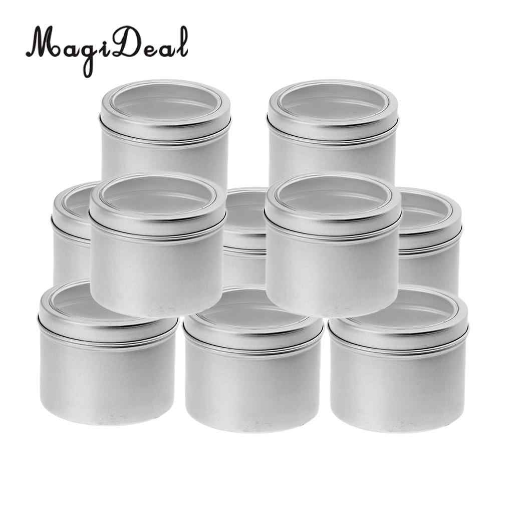 10 Aluminum Tin Jar (100ml) Cosmetic Container Round Tin Can with Screw Lid for DIY Crafts,Cosmetics,Salve,Candle,Travel Storage