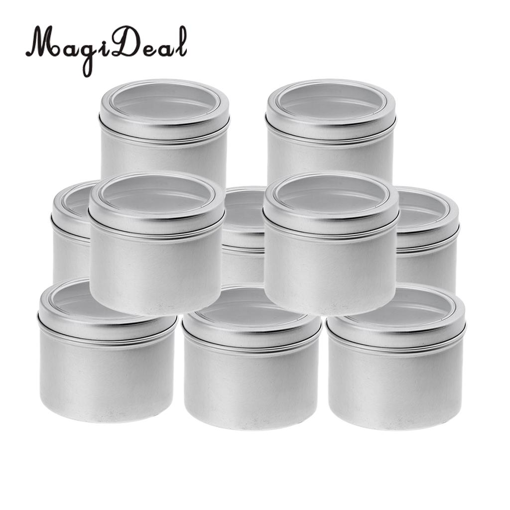 10 Aluminum Tin Jar (100ml) Cosmetic Container Round Tin Can with Screw Lid for DIY Crafts,Cosmetics,Salve,Candle,Travel Storage lid