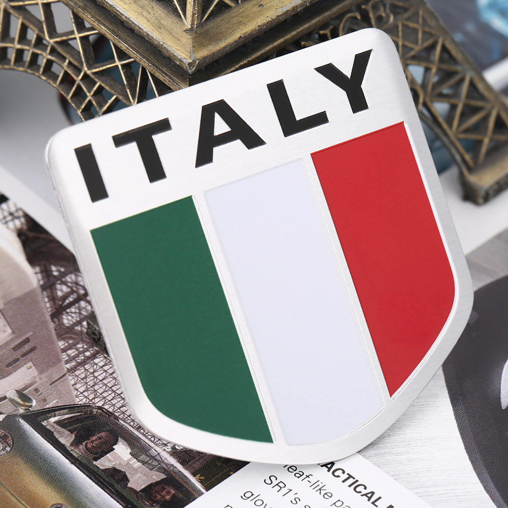 Newest 3d Aluminum Italy Map National Flag Car Sticker Car Styling