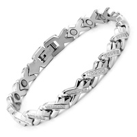 38 New Fashion 316L Stainless Steel Silver With Zircon Bracelet Magnetic Therapy Energy Health Women Men Unique Charm Bracelet