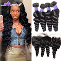 Brazilian Loose Wave With Closure Ali Moda Lace Frontal Closure With Bundles Brazilian Virgin Hair Weave Bundles With Closure