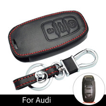 все цены на 3 Buttons Keychain Bag Case Leather Car Key Accessories for Audi A3 A4 A5 A6 A7 A8 Q5 Q8 S4 S5 S6 Remote Lock Covers онлайн