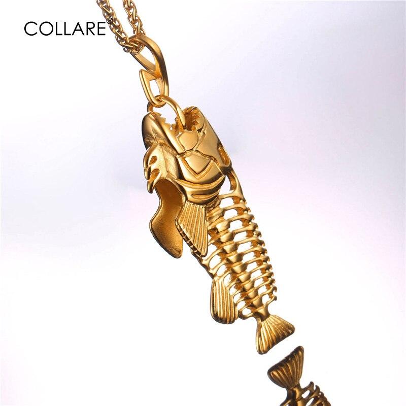 ᗛCollare hueso de pescado y Pesca gancho colgante oro/Negro color ...