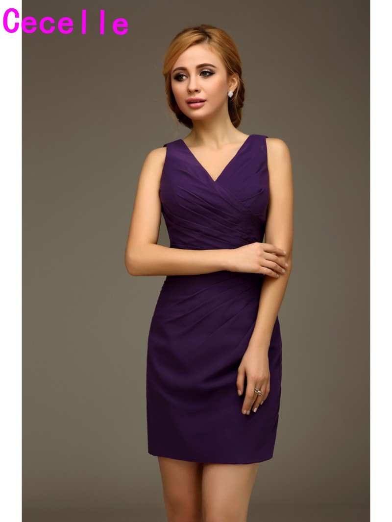 2019 Short Mini Purple V Neck Sleeveless Women   Bridesmaids     Dresses   With Straps Short Fitted Wedding Party   Dresses   Custom Made