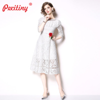 Peritiny Dresses Summer 2019 A Line Casual White Dresses Elegant Long Prom Tunic Women Party Dress Lace