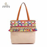 Women Bohemian Summer Beach Ladies Colorful Tassel Handbag Shoulder Bag Cotton Fabric Canvas National Ethnic Bucket