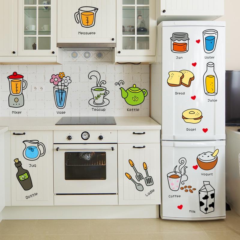 Dining Room Waterproof Refrigerator Cartoon Sticker Child Living Room