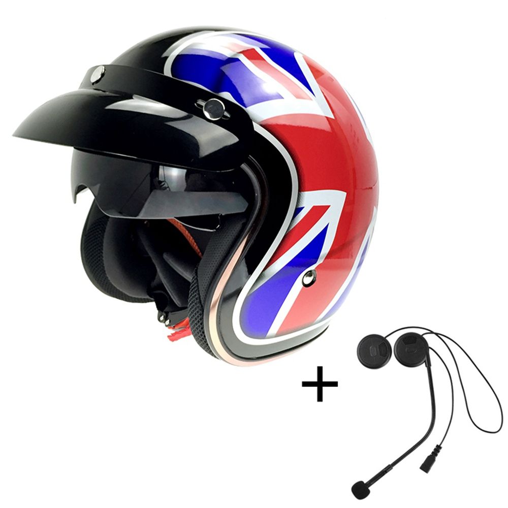 Built-in Bluetooth Motorcycle Helmet Harley Retro Helmet BT Headset with Double Lens for Mp3/Phone Taking/GPRS CG510-L1