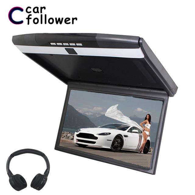 15,6 Inch Decke Monitore FHD 1080P Flip Unten Montieren Monitor Led bildschirm MP5 Player Mit IR/FM Transmitter /USB/SD/HDMI/Lautsprecher