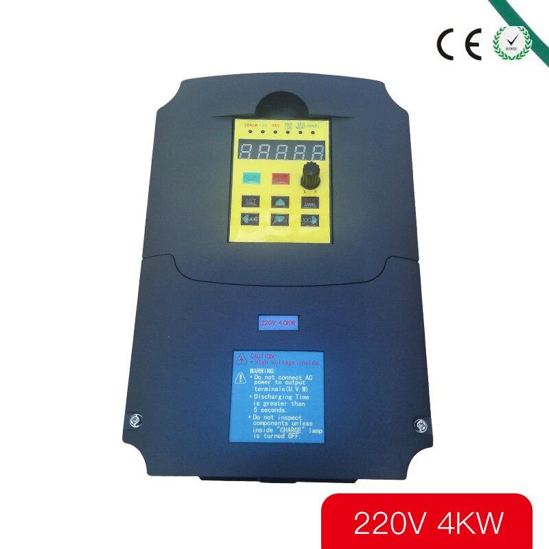Pour entrée russe CE 220 v 4kw 1 phase et convertisseur de fréquence de sortie 220 v 3 phases/moteur à courant alternatif/onduleurs VSD/VFD/50 HZ