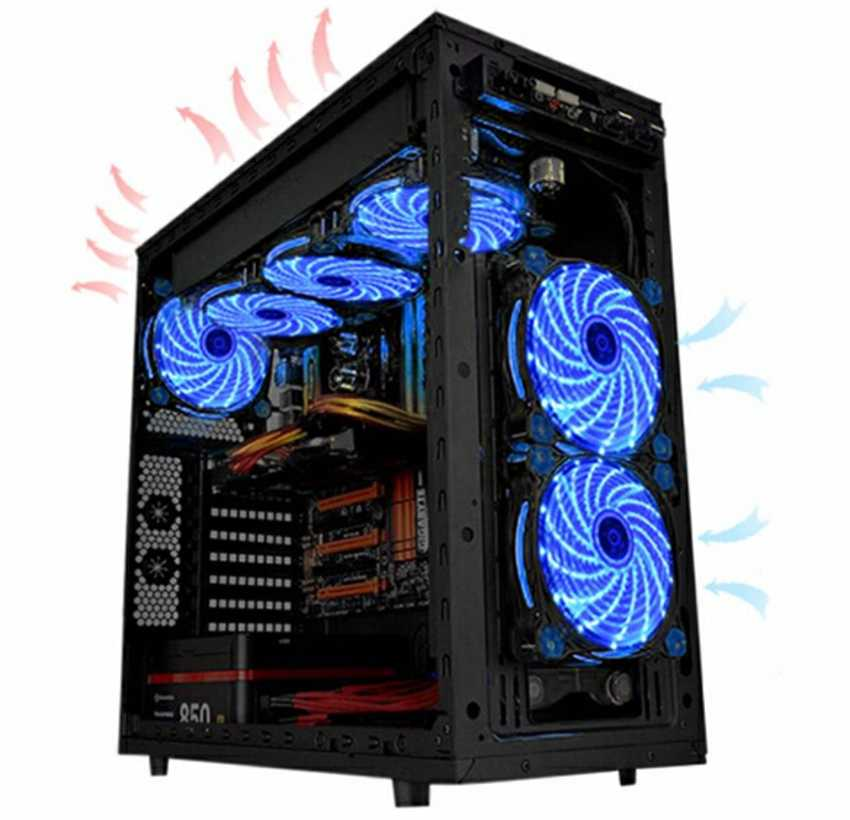 12VDC 3P IDE 4pin 120 مللي متر جهاز كمبيوتر شخصي 16dB الترا صامت 15 المصابيح قضية مروحة المبرد مسند تبريد للاب توب مدمج به مكبر صوت مضاد للاهتزاز المطاط ، 12 سنتيمتر مروحة