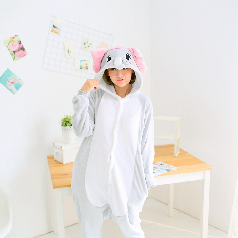 Women Kigurumi Grey Elephant   Pajamas     Sets   Flannel Hood Animal   Pajamas   Adult Winter Onesies Nightie Pyjamas Sleepwear Homewear