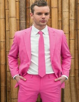 New Arrival Mens Dinner Party Prom Peach pink Suits Groom Tuxedos Groomsmen Wedding Blazer Suits 2017 Hot (Jacket+Pants+Tie)