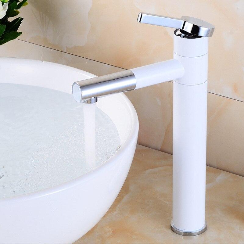Grifo de lavabo antiguo pintura de latón grifo blanco para cocina tirar de un solo mango agujero cubierta de montaje mezclador grifos de agua 360 grado - 4