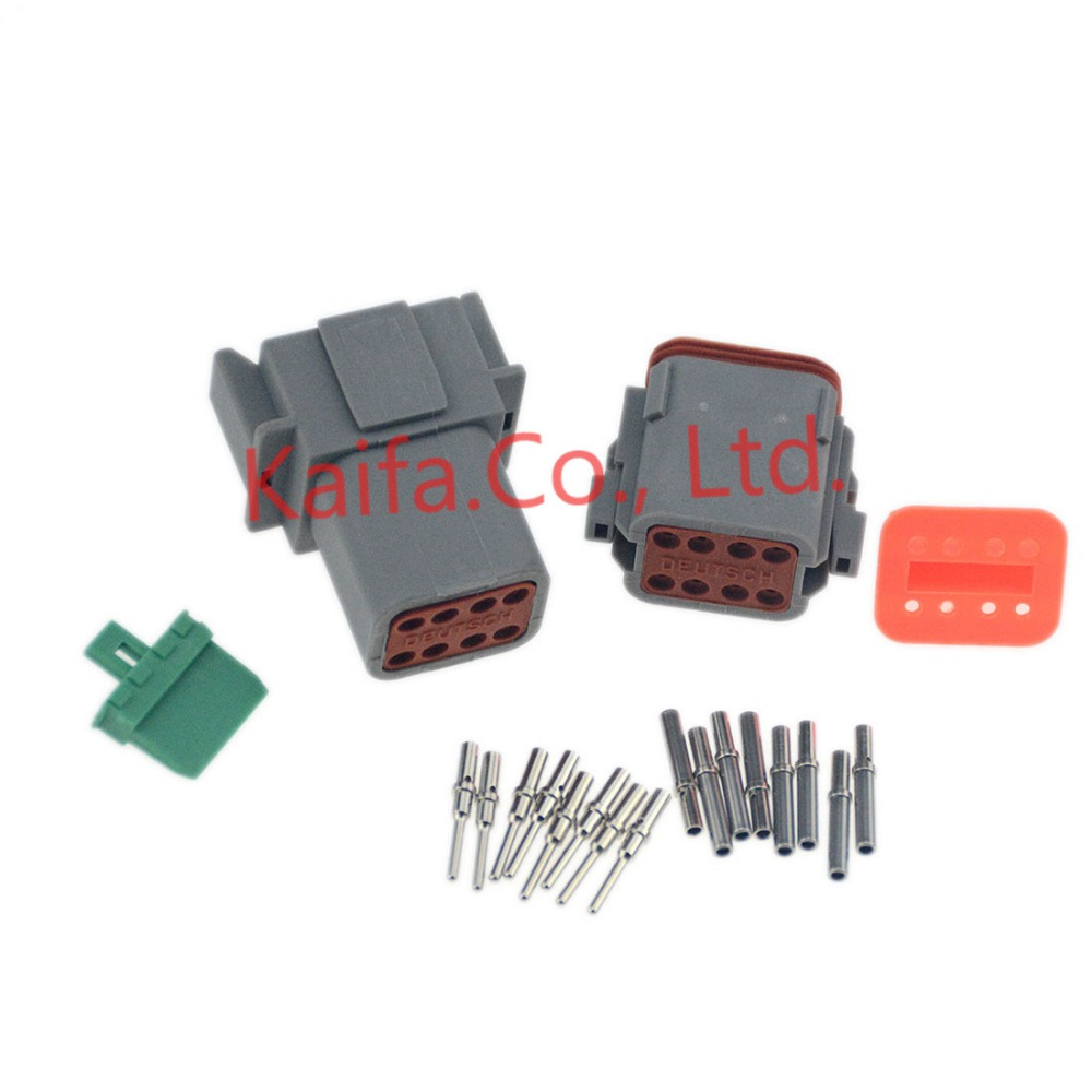 1 sets Kit Deutsch DT 8/12 Pin Waterproof Electrical Wire Connector plug Kit DT06-8/12S DT04-8/12P 16-18 GA black 50 sets 4 pin dj3041y 1 6 11 21 deutsch connectors dt04 4p dt06 4s automobile waterproof wire electrical connector plug