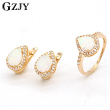 GZJY Gold Color Vintage Jewelry Set Water Drop Natural Stone Opal Earring Ring Jewelry Sets For Women Wedding Party Gift