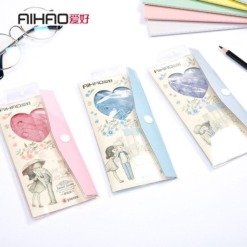 Hot!New Arrival Ruler Set Fashion Korean Design Brand Sweet Secret School Study Kids Drawing Stationery Quality Free Shipping