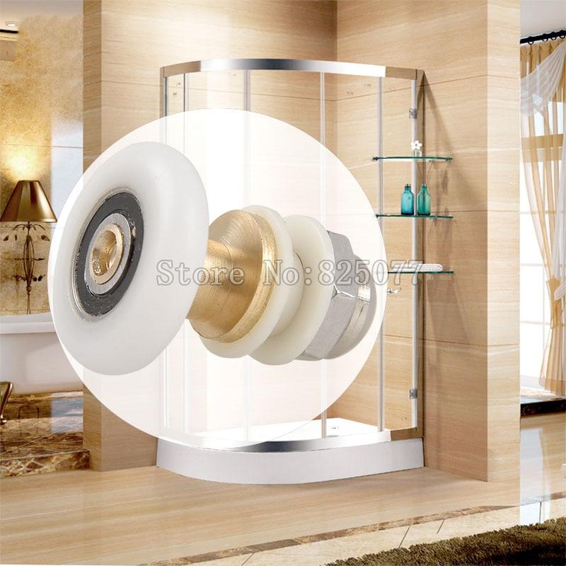 Livraison gratuite 2 Pièces cabine de douche porte de douche coulissante roues en laiton de douche excentrique rouleau de cabine pour 4-6mm verre portes KF1076
