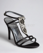 Black Rhinestone sexy shoes Open Toe Thin High Heels Women Shoes women's sandals leather sexy ankle strap bling bling shoes