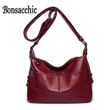 Bonsacchic Soft PU Leather Women Small Shoulder Bag Female Solid Hobos Bag for Women Leather Handbag Autumn Winter Small Handbag