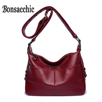 Bonsacchic Soft PU Leather Women Small Shoulder Bag Female Solid Hobos Bag For Women Leather Handbag