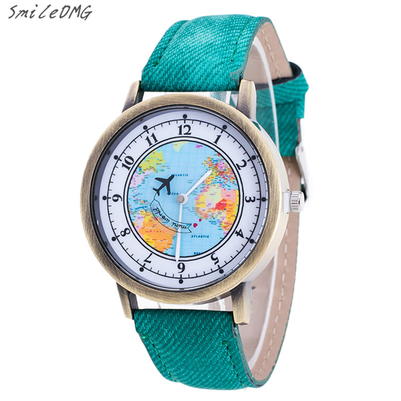 Hot Sale Lady Watch Fashion Womens World Map Cowboy Band Analog Quartz Wrist Watch High Quality Free Shipping,Nov 23