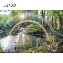 Laeacco Natural Backgrounds Wonderland Rainbow Forest Tree Lake Sunshine Scenic Photographic Backdrops Photocall Photo Studio