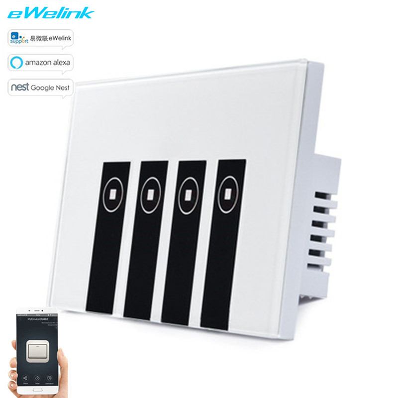 US Standard eWelink APP Remote Control Light Switch via Android and IOS for Smart home,4 Gang Wireless Control WIFI Touch Switch ewelink us type 2 gang wall light smart switch touch control panel wifi remote control via smart phone work with alexa ewelink