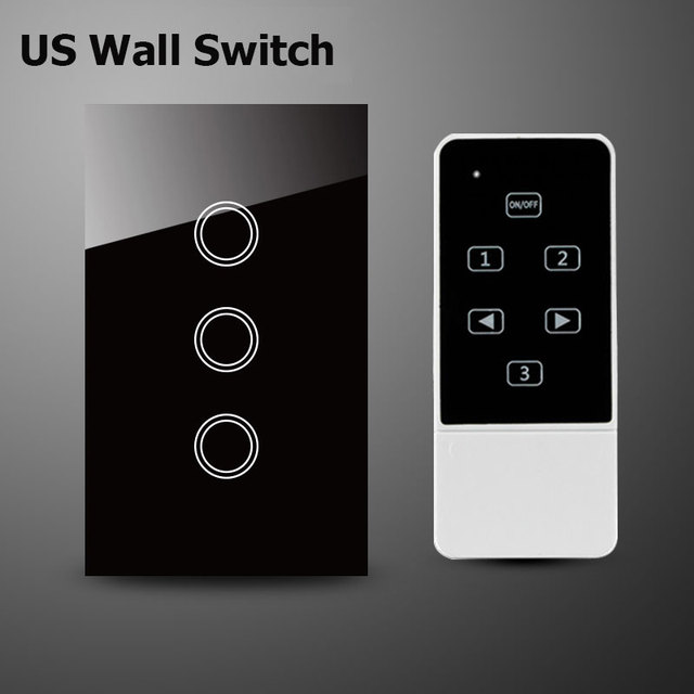 Smart Home Wall Light Switch,US Standard ,Crystal Glass Panel 3Gang 1Way Touch & Remote Switch Control By Broadlink Rm Pro