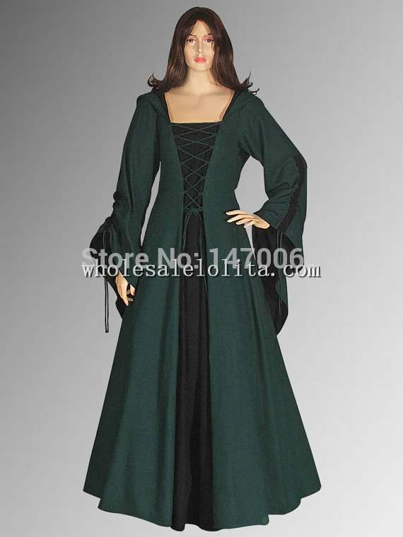 Gothic Green and Black Cotton Medieval Renaissance Maiden Dress Gown with Hood