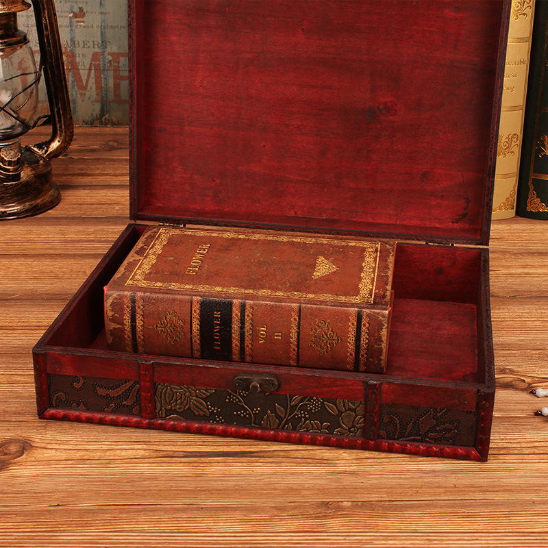 Creative Retro With retro lock jewelry Documents wooden Office desktop Supplies rectangle living room Beautiful Storage Box Gift