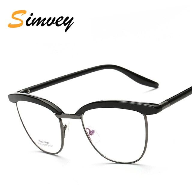 0bc1f7b205 Simvey 2017 Half Frame Cat Eye Glasses Frames for Women Men Clear Lens Big Korean  Retro Designer Optical Eyeglasses TR90