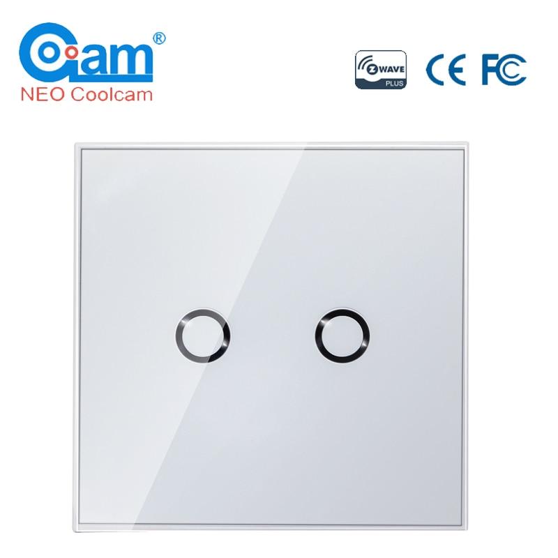 NEO COOLCAM Z-wave Plus 2CH EU Wall Light Switch Home Automation Z Wave Wireless Smart Home Remote Control Light Switch