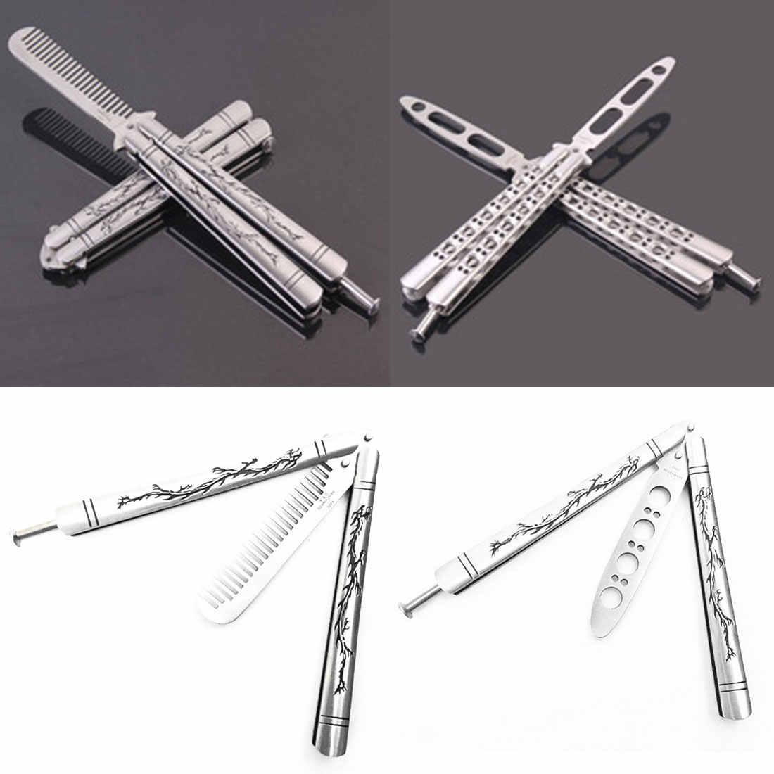 الفولاذ المقاوم للصدأ التنين التيتانيوم المغلفة سكين للفرد التدريب لا فراشة بيضاء حادة مع صندوق