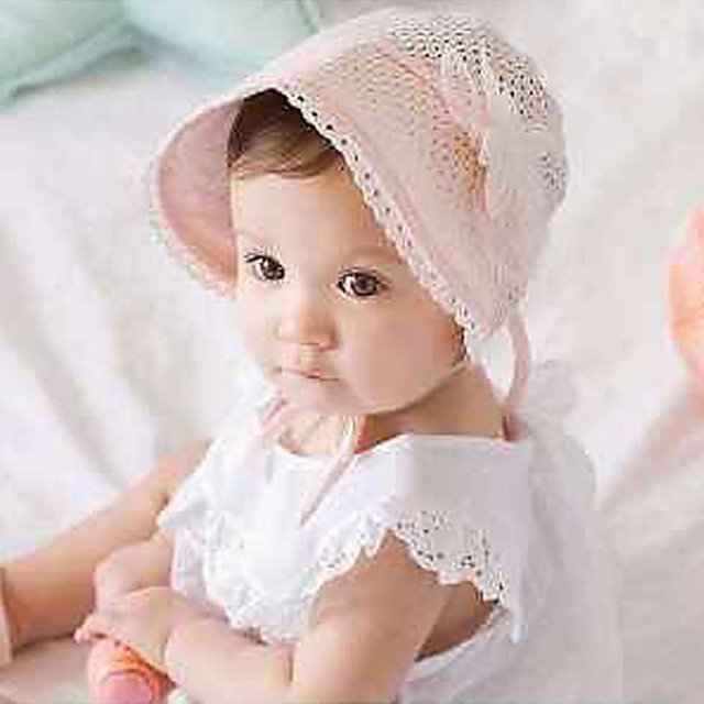 259cb01da72d Newborn Baby Girls Princess Hats Cap Cotton Palace Hat Cute Sun Hats 1Pc