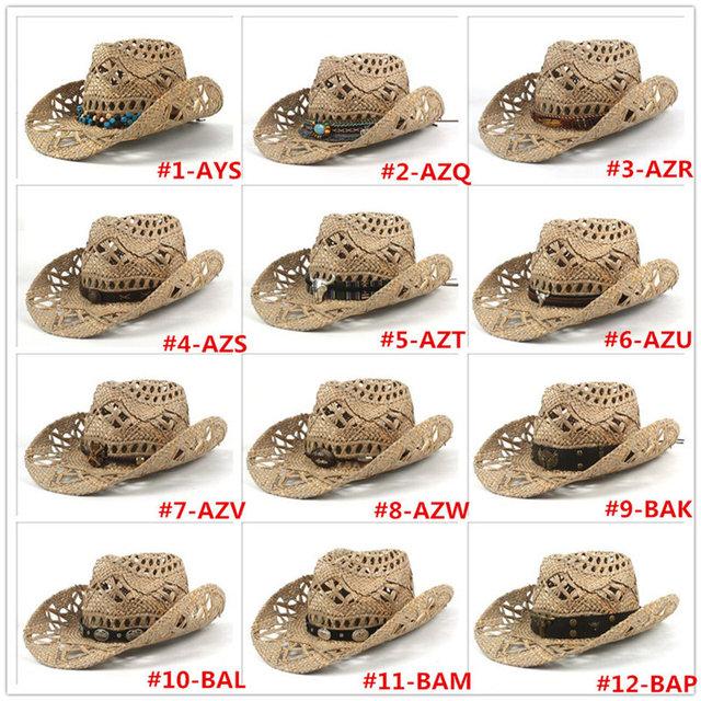 Handmade Weave Straw Women Men Western Cowboy Hat Summer Sun Lifeguard Hombre Sombrero Jazz Caps Size 56-58 DropShipping