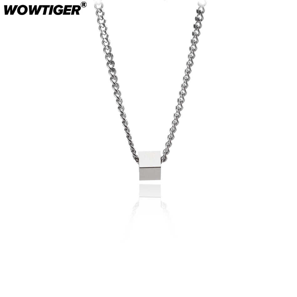 WOWTIGER Men`s Square Pendant Necklace For Women Family With Heart Birthday Memory Jewelry Necklace Jewelry Party Gift for Girl necklace