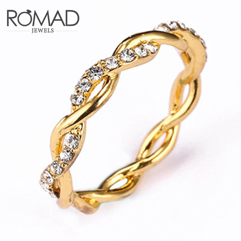 Romad Fashion Braided Rose Gold / Gold Color Rings For Women Punk Style Twisted Ring New YearS Gift Jewelry Anillos Mujer R4