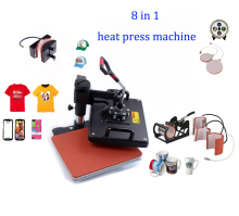 Advanced New Design 8 In 1 Combo Heat Transfer Machine,Sublimation/Heat Press Machine For Plate/Mug/Cap/TShirt /Phone case Etc