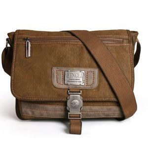 Image 2 - Retro Canvas bag men shoulder bags leisure wear resistant cross messenger bag Unisex casual crossbody Bags Leisure Package