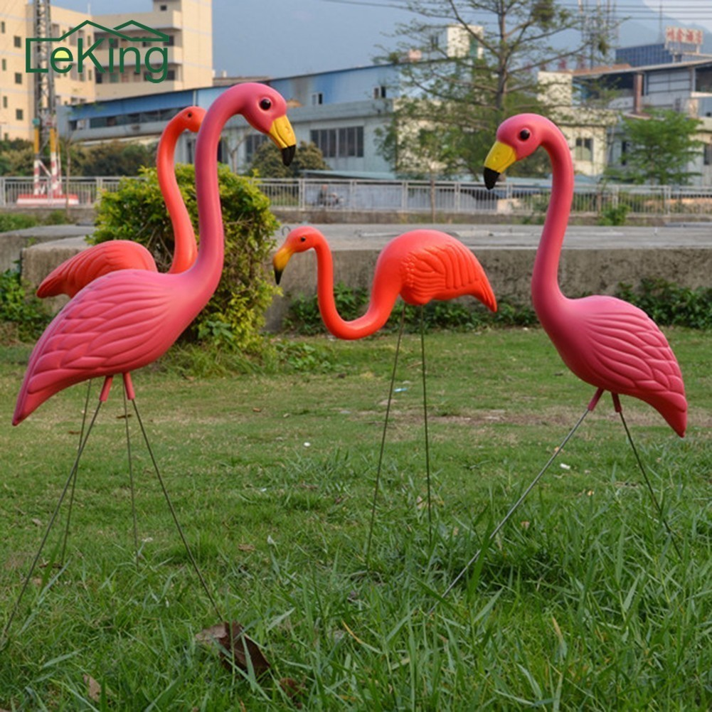 2Pcs Lifelike Artificial Plastic Pink Flamingo Ornament Home Garden Lawn Decoration Christmas Gifts Party Balcony Decoration