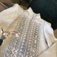 Роскошные зал блейзер feminino супер трудоемкий chaqueta mujer Удивительные ручной работы отделка жемчужными бусами Зимнее пальто элегантный blaser